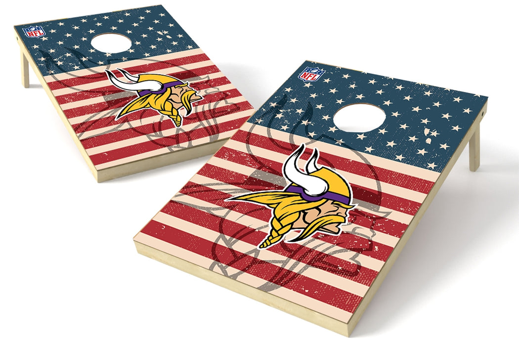Minnesota Vikings 2x3 Cornhole Board Set - American Flag Weathered