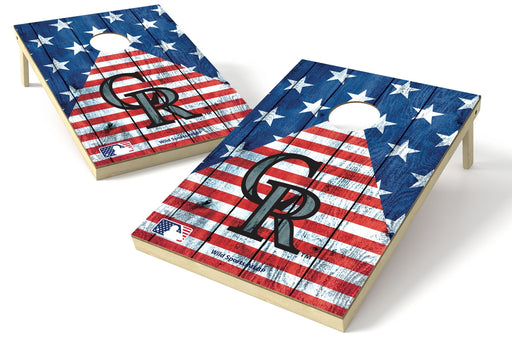 Colorado Rockies 2x3 Cornhole Board Set - American Flag