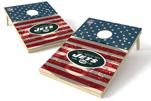 New York Jets 2x3 Cornhole Board Set - American Flag Weathered