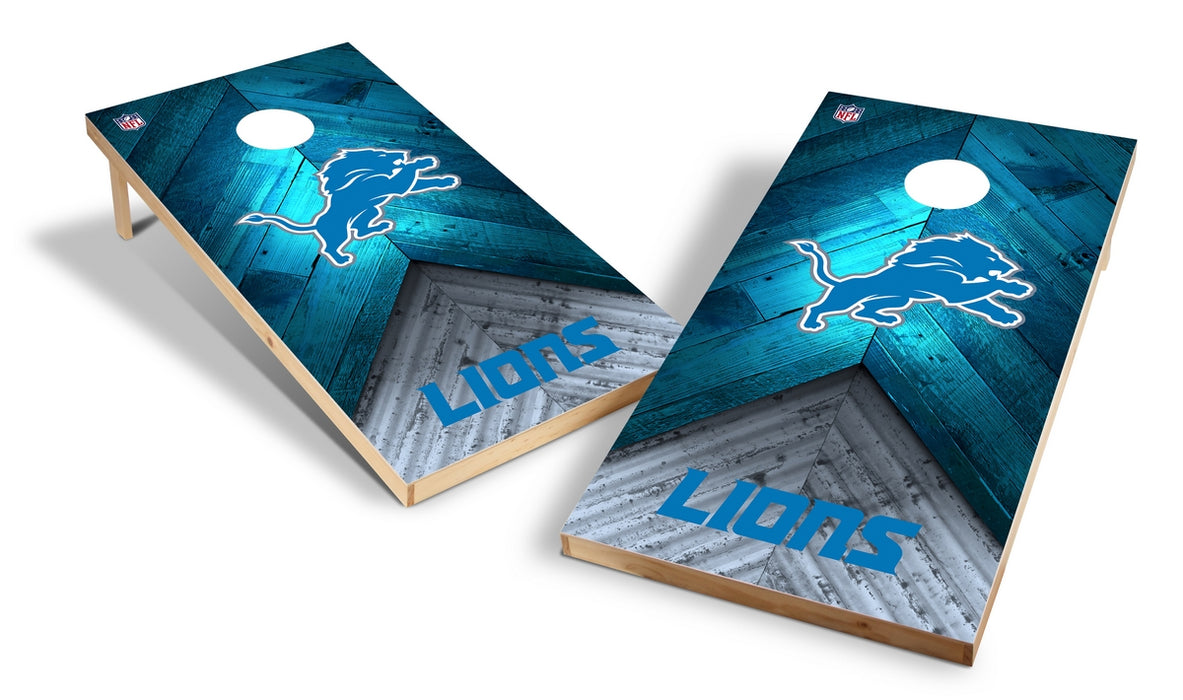 Detroit Lions 2x4 Cornhole Board Set - Weathered