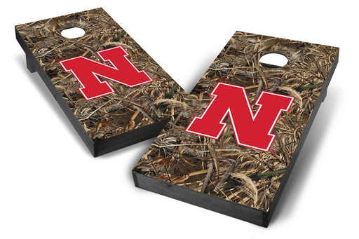 Nebraska Cornhuskers 2x4 Cornhole Board Set Onyx Stained - Realtree Max-5 Camo
