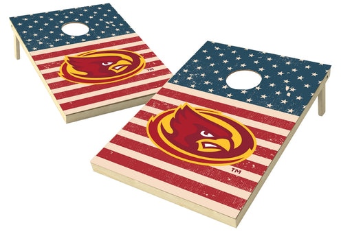 Iowa State Cyclones 2x3 Cornhole Board Set - American Flag Weathered
