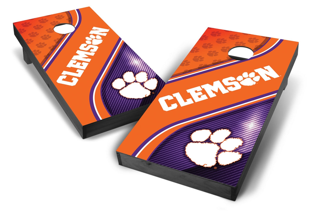 Clemson Tigers 2x4 Cornhole Board Set Onyx Stained - Swirl