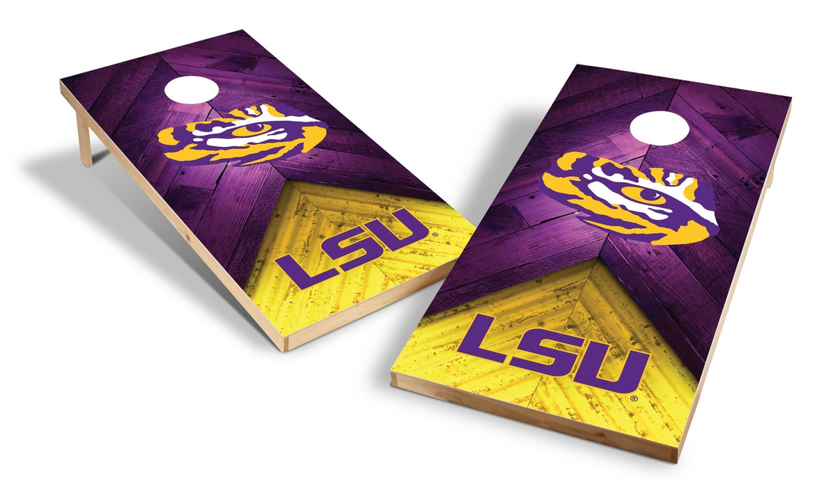 LSU Louisiana State Tigers 2x4 Cornhole Board Set - Weathered