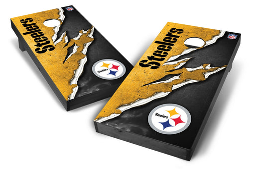Pittsburgh Steelers 2x4 Cornhole Board Set Onyx Stained - Ripped