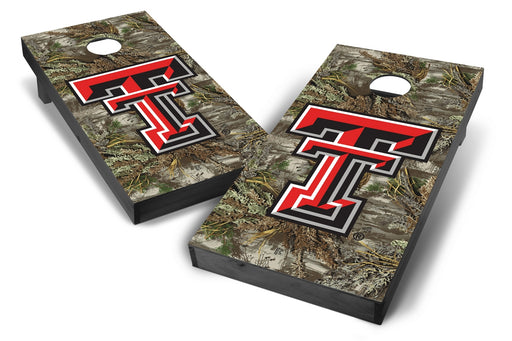 Texas Tech Red Raiders 2x4 Cornhole Board Set Onyx Stained - Realtree Max-1 Camo