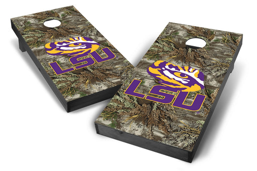 LSU Tigers 2x4 Cornhole Board Set Onyx Stained - Realtree Max-1 Camo