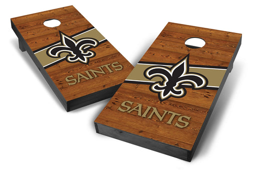 New Orleans Saints 2x4 Cornhole Board Set Onyx Stained - Logo