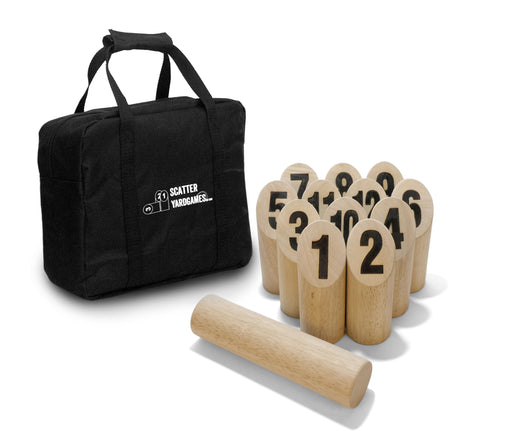 Scatter Number Block Tossing Game with Durable Carrying Case and Heat Burned-in Numbers