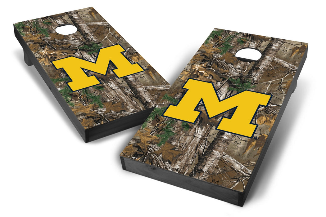 Michigan Wolverines 2x4 Cornhole Board Set Onyx Stained - Xtra Camo