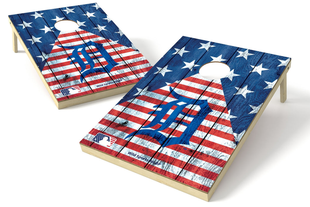 Detroit Tigers 2x3 Cornhole Board Set - American Flag