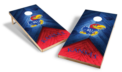 Kansas Jayhawks 2x4 Cornhole Board Set - Weathered