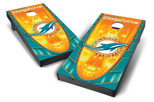Miami Dolphins 2x4 Cornhole Board Set Onyx Stained - Hot
