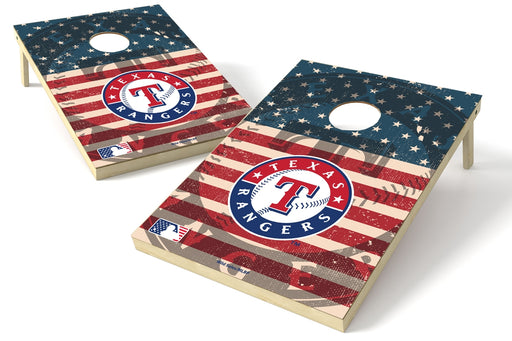 Texas Rangers 2x3 Cornhole Board Set - American Flag Weathered