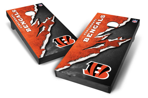 Cincinnati Bengals 2x4 Cornhole Board Set Onyx Stained - Ripped