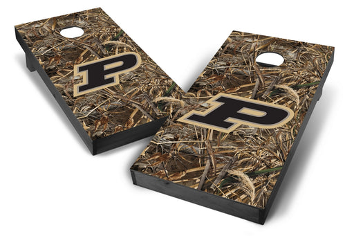 Purdue Boilermakers 2x4 Cornhole Board Set Onyx Stained - Realtree Max-5 Camo