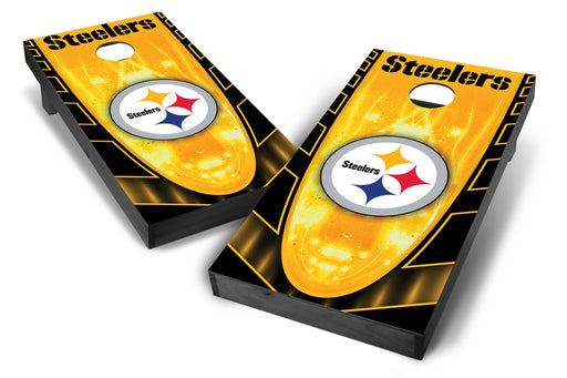 Pittsburgh Steelers 2x4 Cornhole Board Set Onyx Stained - Hot