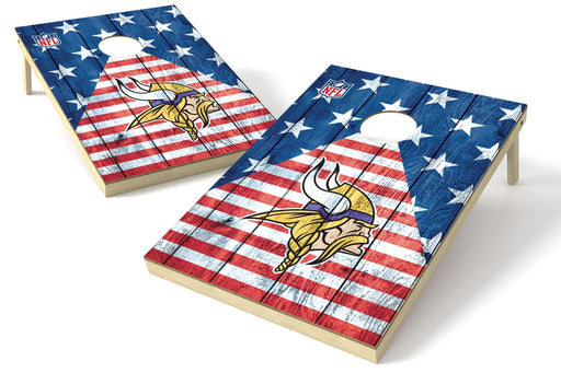 Minnesota Vikings 2x3 Cornhole Board Set - American Flag