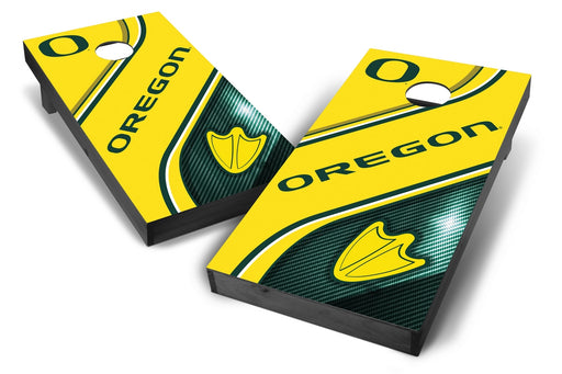Oregon Ducks 2x4 Cornhole Board Set Onyx Stained - Swirl