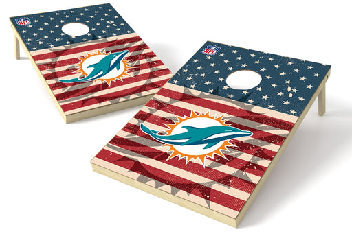 Miami Dolphins 2x3 Cornhole Board Set - American Flag Weathered