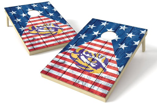 LSU Louisiana State Tigers 2x3 Cornhole Board Set - American Flag