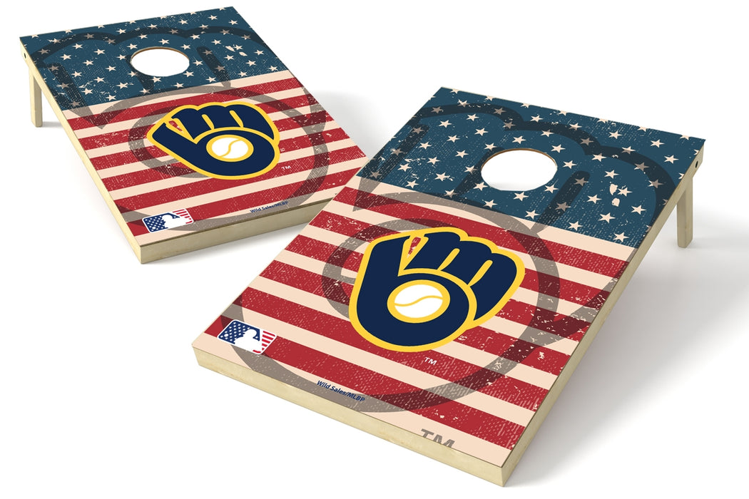 Milwaukee Brewers 2x3 Cornhole Board Set - American Flag Weathered