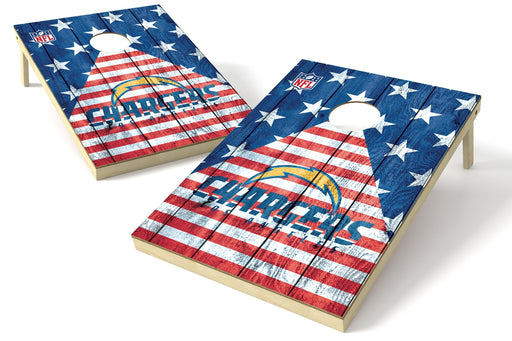 Los Angeles Chargers 2x3 Cornhole Board Set - American Flag