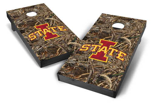 Iowa State Cyclones 2x4 Cornhole Board Set Onyx Stained - Realtree Max-5 Camo