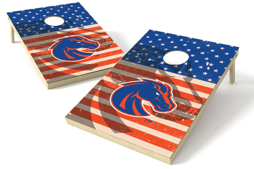 Boise State Broncos 2x3 Cornhole Board Set - American Flag Weathered