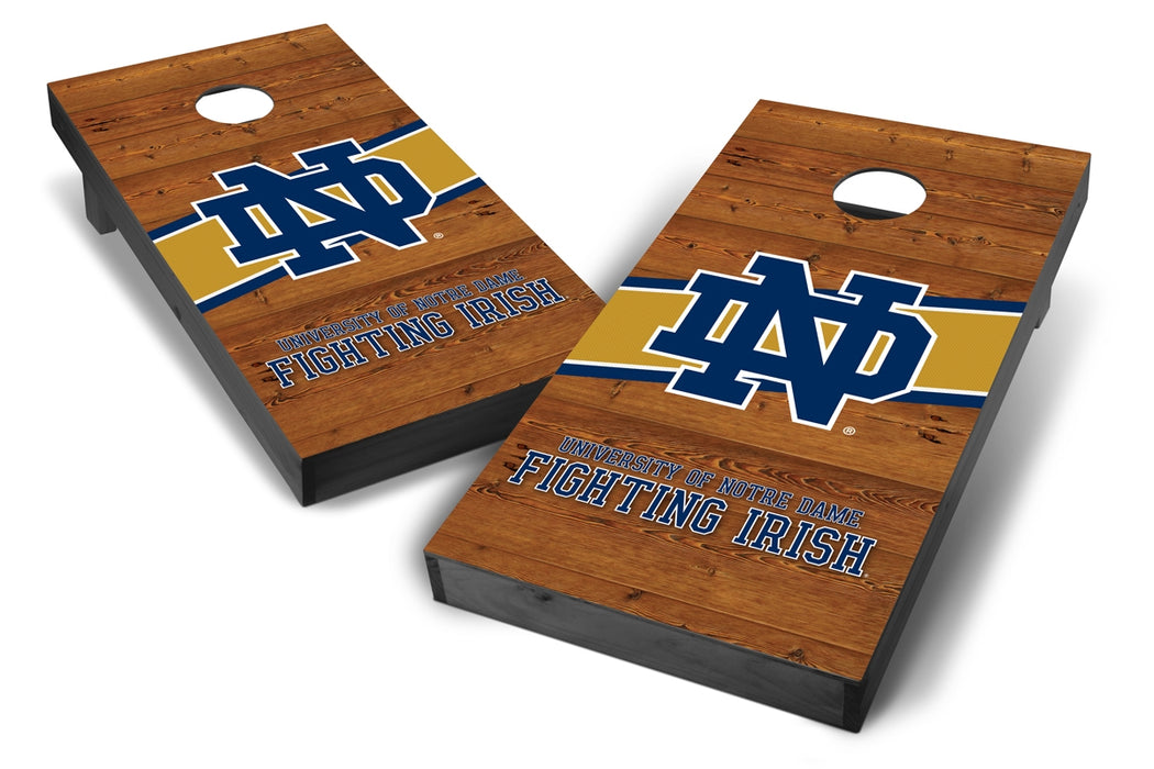 Notre Dame Fighting Irish 2x4 Cornhole Board Set Onyx Stained - Logo