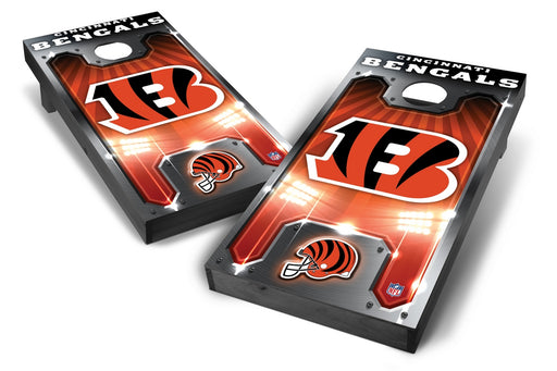 Cincinnati Bengals 2x4 Cornhole Board Set Onyx Stained - Plate