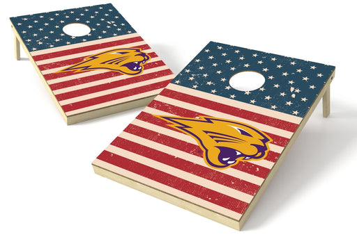 Northern Iowa 2x3 Cornhole Board Set - American Flag Weathered