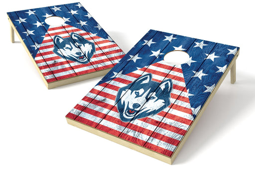 U Conn. Huskies 2x3 Cornhole Board Set - American Flag