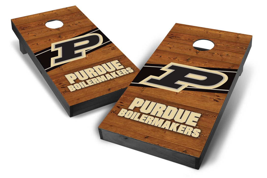 Purdue Boilermakers 2x4 Cornhole Board Set Onyx Stained - Logo