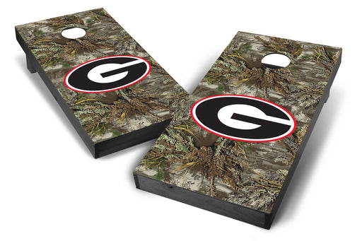 Georgia Bulldogs 2x4 Cornhole Board Set Onyx Stained - Realtree Max-1 Camo