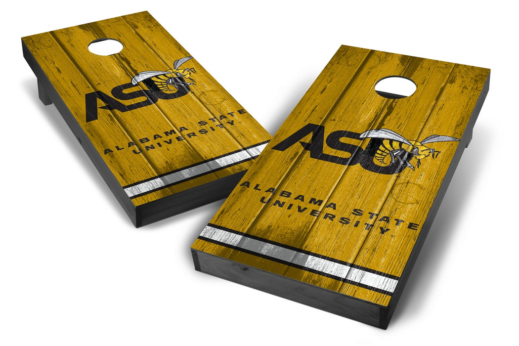 Alabama State Hornets 2x4 Cornhole Board Set Onyx Stained - Vintage