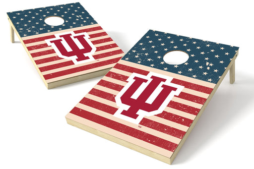 Indiana Hoosiers 2x3 Cornhole Board Set - American Flag Weathered