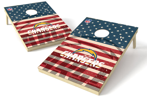 Los Angeles Chargers 2x3 Cornhole Board Set - American Flag Weathered