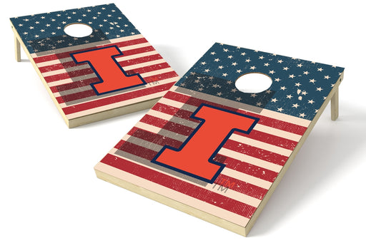 Illinois Fighting Illini 2x3 Cornhole Board Set - American Flag Weathered