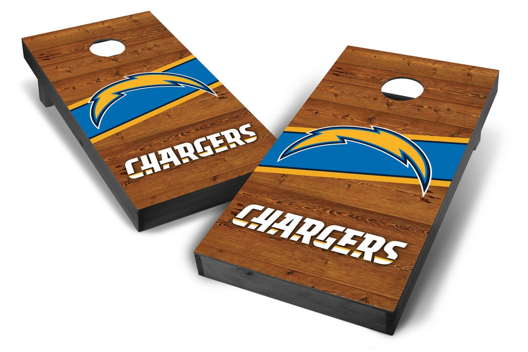 Los Angeles Chargers 2x4 Cornhole Board Set Onyx Stained - Logo