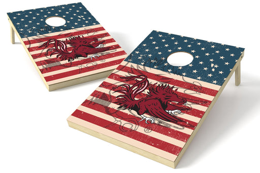 South Carolina Gamecocks 2x3 Cornhole Board Set - American Flag Weathered