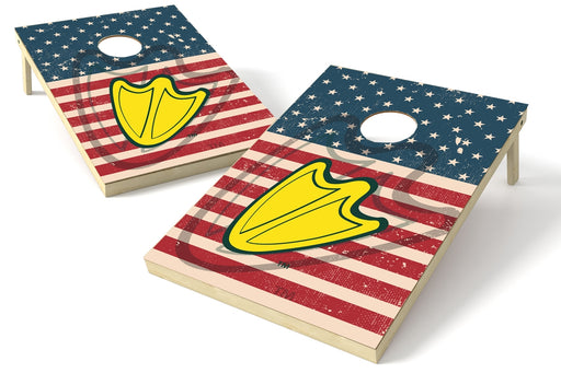 Oregon Ducks 2x3 Cornhole Board Set - American Flag Weathered