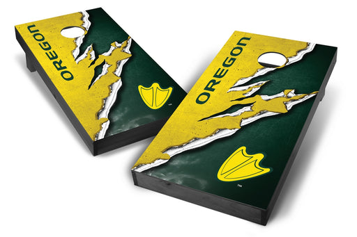 Oregon Ducks 2x4 Cornhole Board Set Onyx Stained -  Ripped