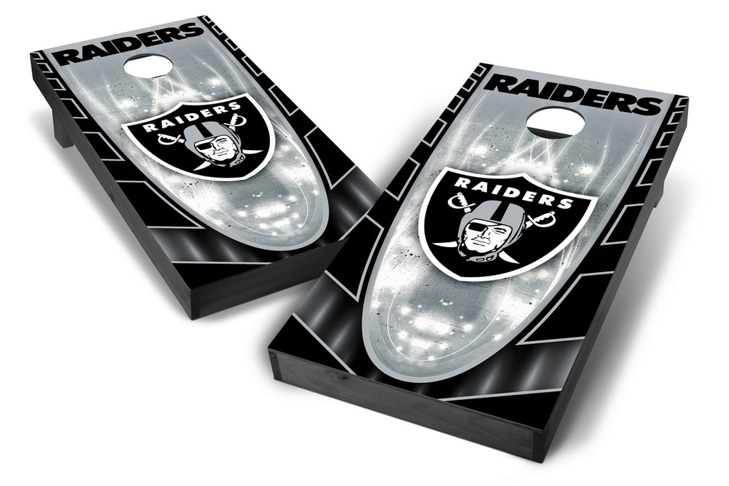 Oakland Raiders 2x4 Cornhole Board Set Onyx Stained - Hot