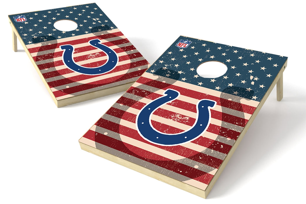 Indianapolis Colts 2x3 Cornhole Board Set - American Flag Weathered