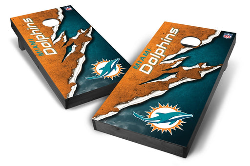 Miami Dolphins 2x4 Cornhole Board Set Onyx Stained - Ripped