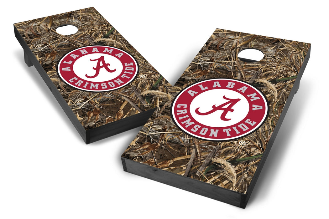 Alabama Crimson Tide 2x4 Cornhole Board Set Onyx Stained - Realtree Max-5 Camo