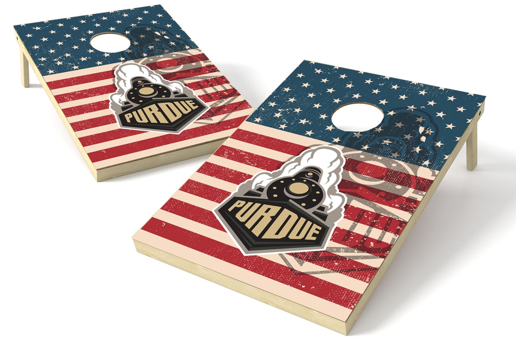 Purdue Boilermakers 2x3 Cornhole Board Set - American Flag Weathered
