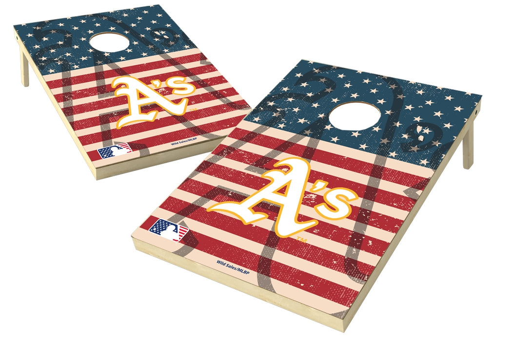 Oakland Athletics 2x3 Cornhole Board Set - American Flag Weathered