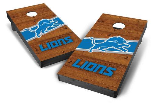 Detroit Lions 2x4 Cornhole Board Set Onyx Stained - Logo